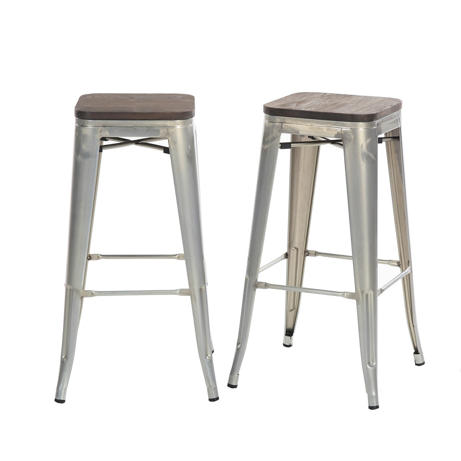 Buschman Set of 2 Galvanized Wooden Seat 30 Inch Bar Height Metal Bar Stools, Indoor/Outdoor, Stackable