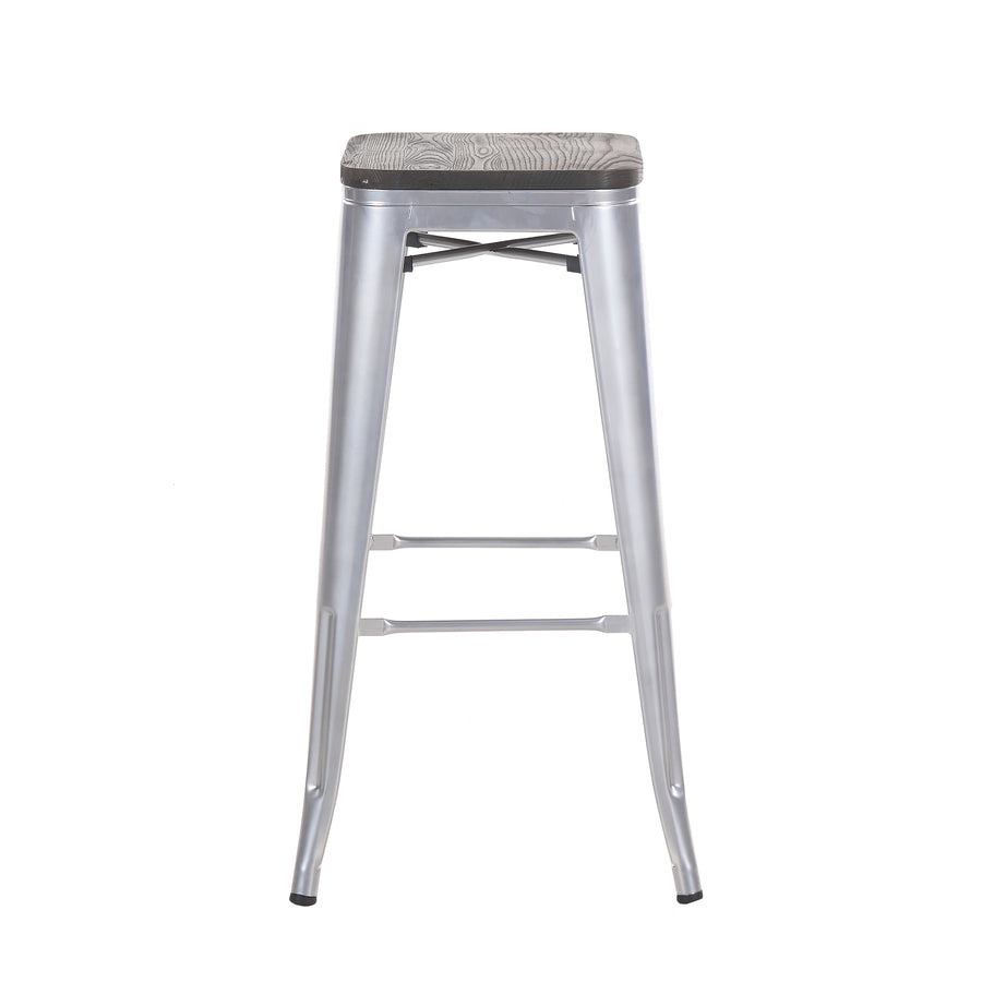 "Buschman Set of Four Grey 30"" Industrial Metal Stackable Backless Barstools with Wooden Seat"