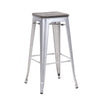 Buschman Set of 4 Grey Wooden Seat 30 Inch Bar Height Metal Bar Stools, Indoor/Outdoor Stackable