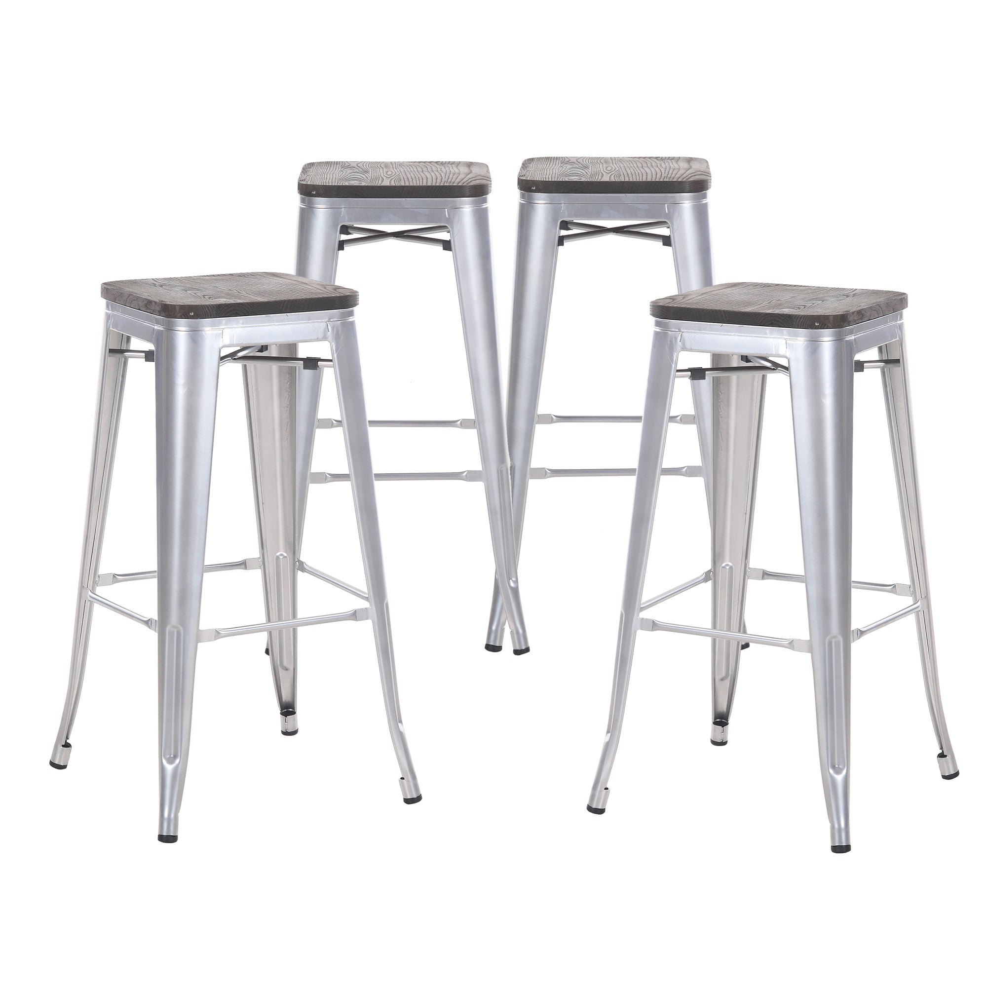 Buschman Set Of 4 Grey Wooden Seat 30 Inch Bar Height Metal Bar