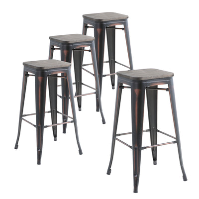 "Buschman Set of Four Distressed Black  30"" Industrial Metal Stackable Backless Barstools with Wooden Seat"