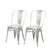 Buschman Set of Two Galvanized Dining Room Industrial Metal Stackable Chairs With Back