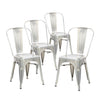 Buschman Set of Four Galvanized Dining Room Industrial Metal Stackable Chairs With Back