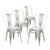 Buschman Set of 4 Galvanized Metal Dining Chairs, Indoor/Outdoor and Stackable