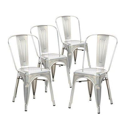 Buschman Set of Four Dining Room Industrial Metal Stackable Chairs With Back