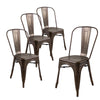 Buschman Set of Four Bronze Dining Room Industrial Metal Stackable Chairs With Back