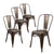 Buschman Set of 4 Bronze Metal Dining Chairs, Indoor/Outdoor and Stackable