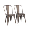 Buschman Set of Two Bronze Dining Room Industrial Metal Stackable Chairs With Back and Wooden Seat