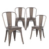 Buschman Set of Four Bronze Dining Room Industrial Metal Stackable Chairs With Back and Wooden Seat