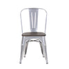 Buschman Set of Two Grey Dining Room Industrial Metal Stackable Chairs With Back and Wooden Seat