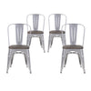 Buschman Set of Four Grey Dining Room Industrial Metal Stackable Chairs With Back and Wooden Seat