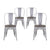 Buschman Set of 4 Grey Wooden Seat Metal Dining Chairs, Indoor/Outdoor and Stackable