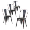 Set of Four Distressed Black Industrial Metal Stackable Chairs