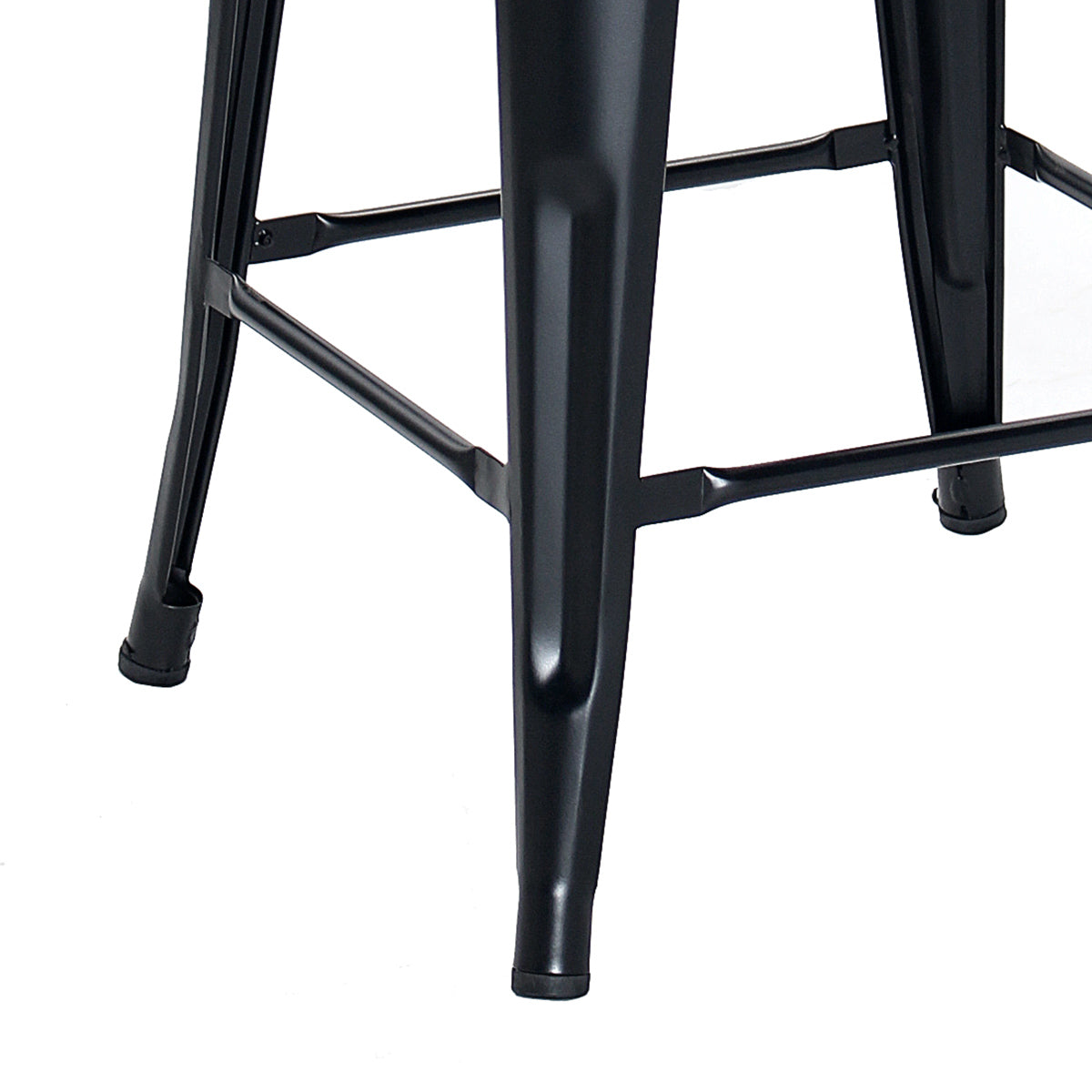 Buschman Set of 4 Matte Black 26 Inch Counter Height Metal Bar Stools, Indoor/Outdoor