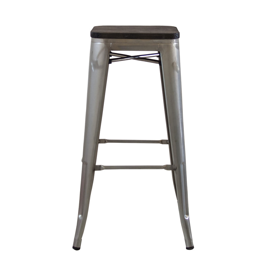 "Buschman Set of Two Galvanized 30"" Industrial Metal Stackable Backless Barstools with Wooden Seat"