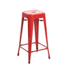 Buschman Set of 2 Red 30 Inch Bar Height Metal Bar Stools, Indoor/Outdoor, Stackable