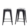 Buschman Set of 2 Black 24 Inch Counter Height Metal Bar Stools, Indoor/Outdoor, Stackable