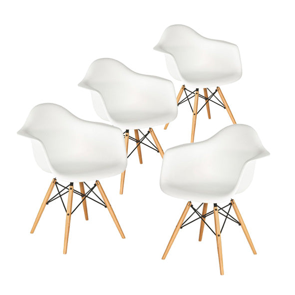 Buschman Set of 4 White Chairs, Mid Century Modern Dining Armchairs
