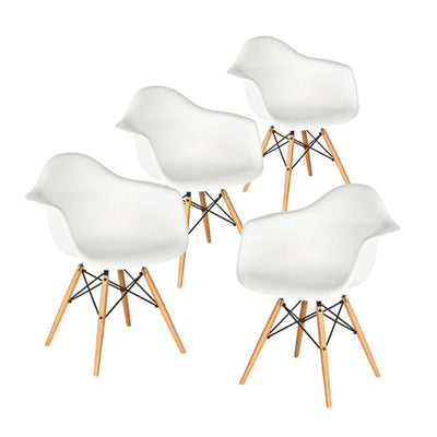 Buschman Set of 4 White Eames Chairs, Mid Century Modern Dining Armchairs