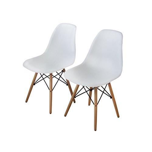 Buschman Set of 2 White Eames Chairs, Mid Century Modern Dining Chairs