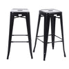 Buschman Set of 2 Matte Black 30 Inch Bar Height Metal Bar Stools, Indoor/Outdoor, Stackable