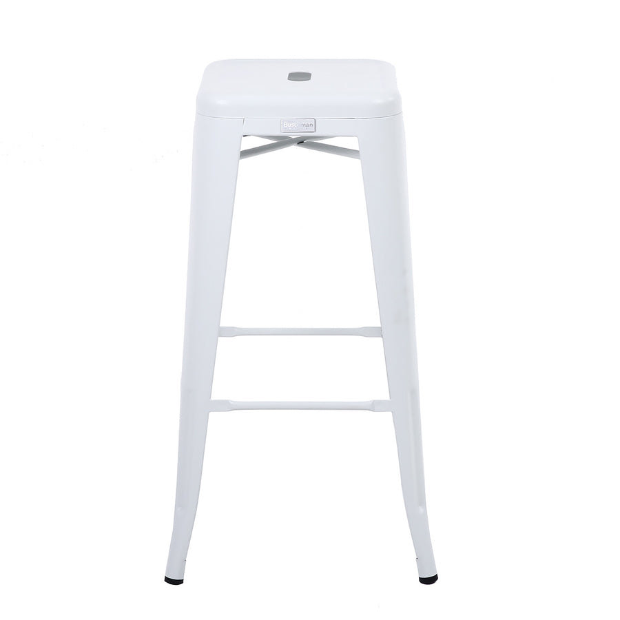 Buschman Set of 4 Matte White 30 Inch Bar Height Metal Bar Stools, Indoor/Outdoor Stackable