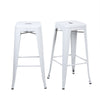 Buschman Set of 2 Matte White 30 Inch Bar Height Metal Bar Stools, Indoor/Outdoor, Stackable