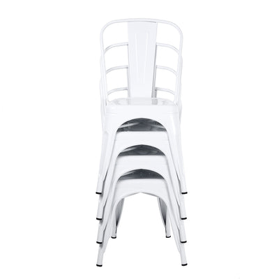 Buschman Set of 4 White Metal Dining Chairs, Indoor/Outdoor and Stackable