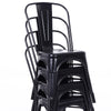Buschman Set of 4 Matte Black Metal Dining Chairs, Indoor/Outdoor and Stackable