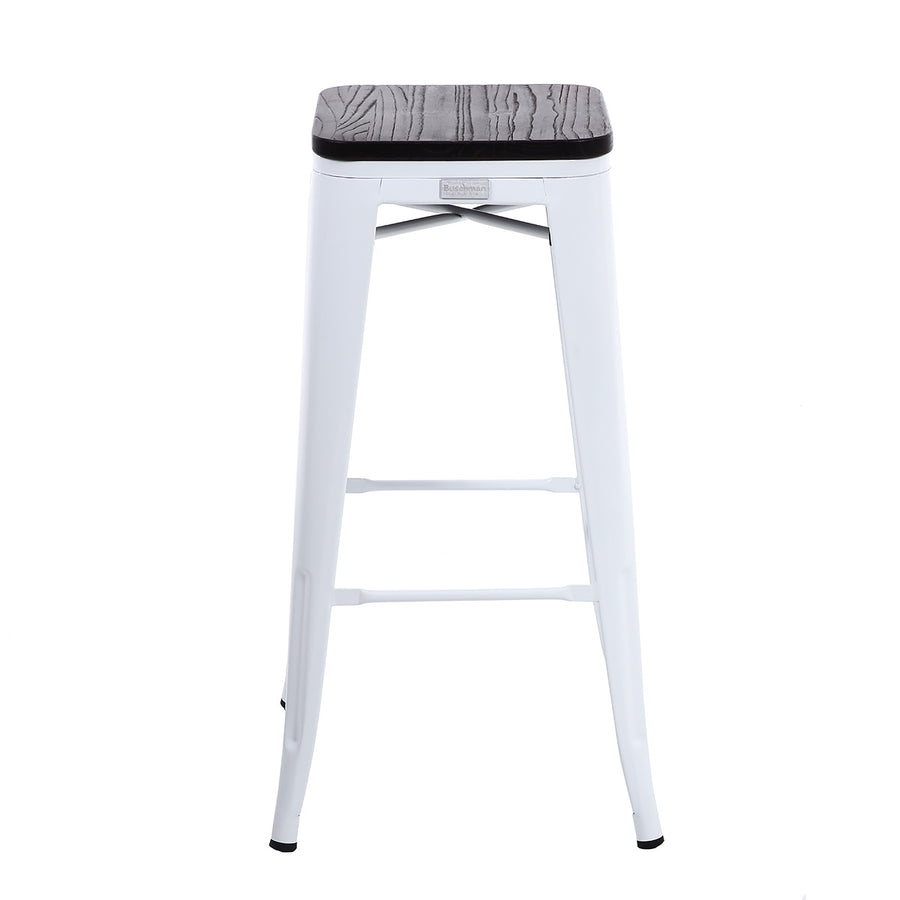 Buschman Set of 2 White Wooden Seat 30 Inch Bar Height Metal Bar Stools, Indoor/Outdoor, Stackable