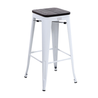 "Buschman Set of Four White 30"" Industrial Metal Stackable Backless Barstools with Wooden Seat"