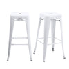 Buschman Set of 2 White 30 Inch Bar Height Metal Bar Stools, Indoor/Outdoor, Stackable