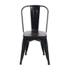 Buschman Set of Four Matte Black Dining Room Industrial Metal Stackable Chairs With Back and Wooden Seat