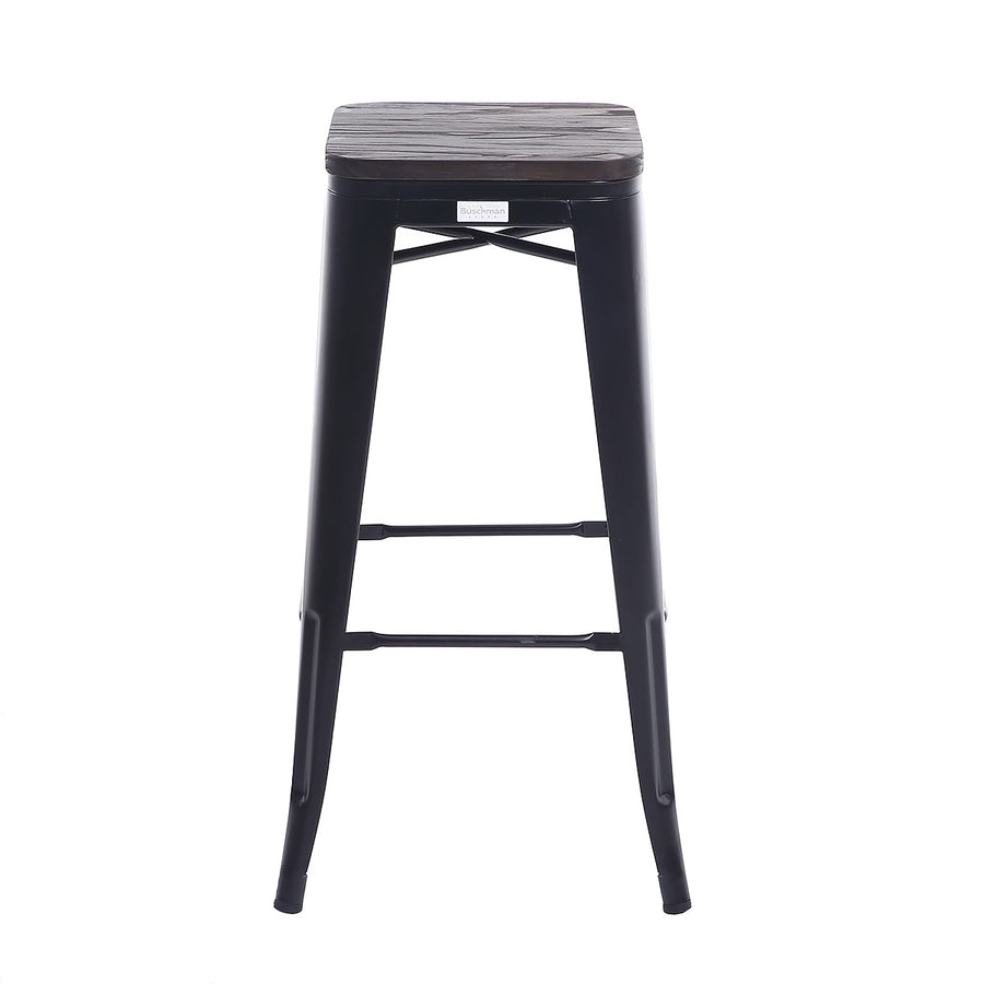 "Buschman Set of Four Matte Black 30"" Industrial Metal Stackable Backless Barstools with Wooden Seat"