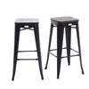 Buschman Set of 2 Matte Black Wooden Seat 30 Inch Bar Height Metal Bar Stools, Indoor/Outdoor, Stackable
