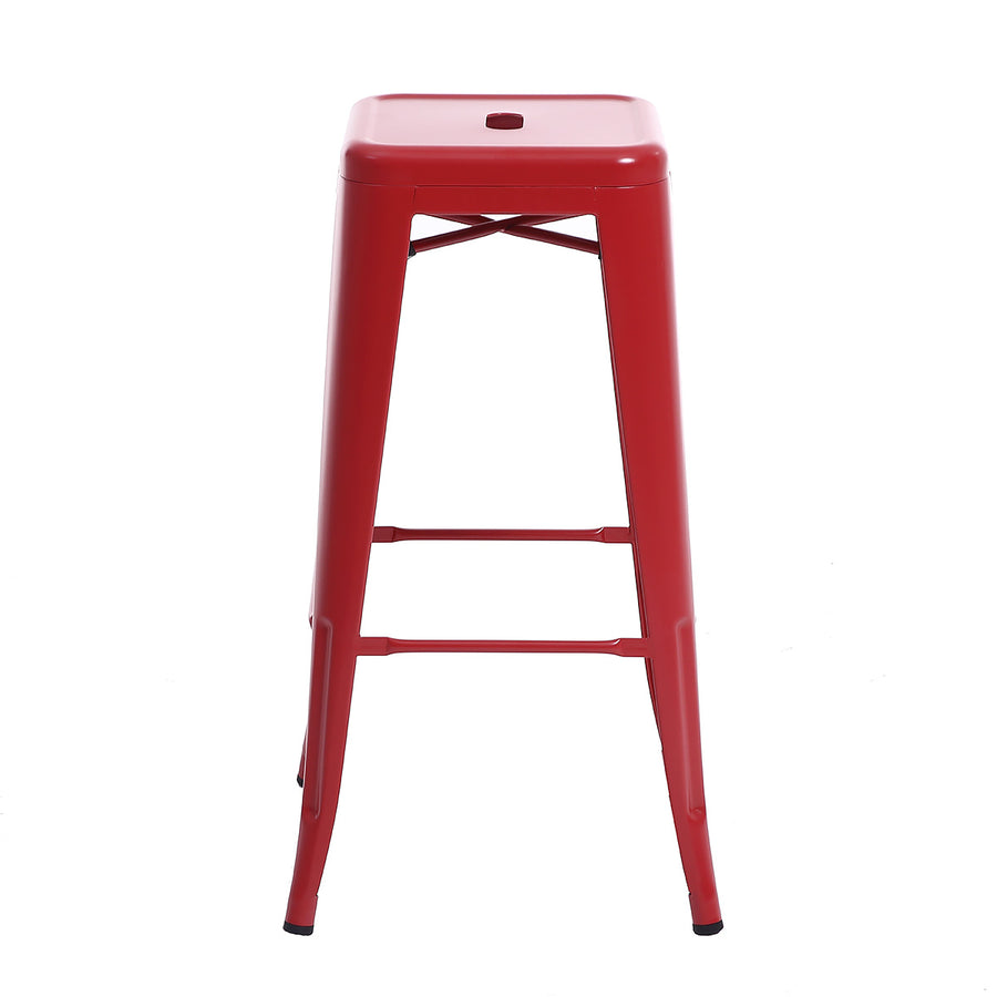 "Buschman Metal Bar Stools 30"" Bar Height, Indoor/Outdoor and Stackable, Set of 4 (Matte Red)"