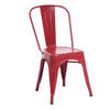 Buschman Set of 4 Matte Red Metal Dining Chairs, Indoor/Outdoor and Stackable