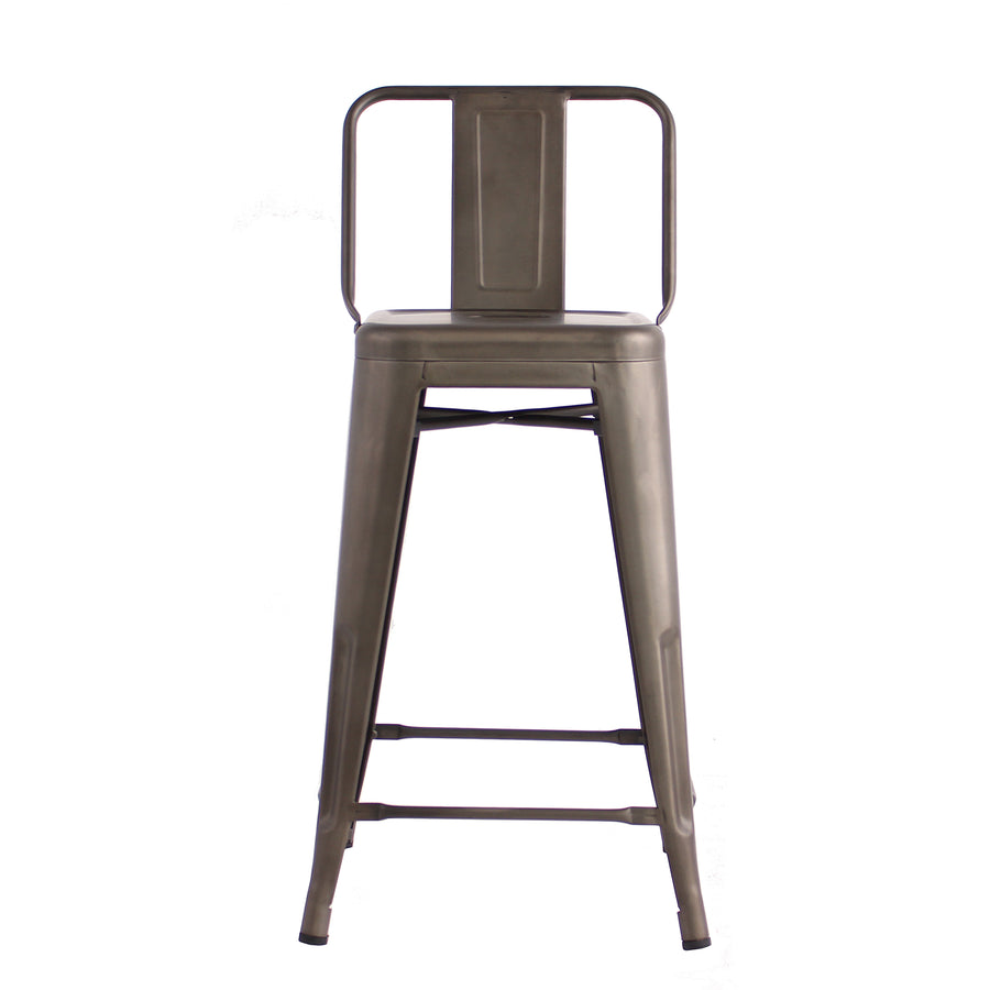 Buschman Set of 4 Bronze 24 Inch Counter Height Metal Bar Stools with Medium Back, Indoor/Outdoor