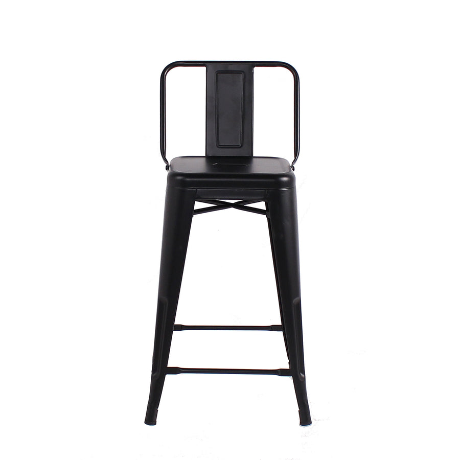Buschman Set of 4 Matte Black 24 Inch Counter Height Metal Bar Stools with Medium Back, Indoor/Outdoor