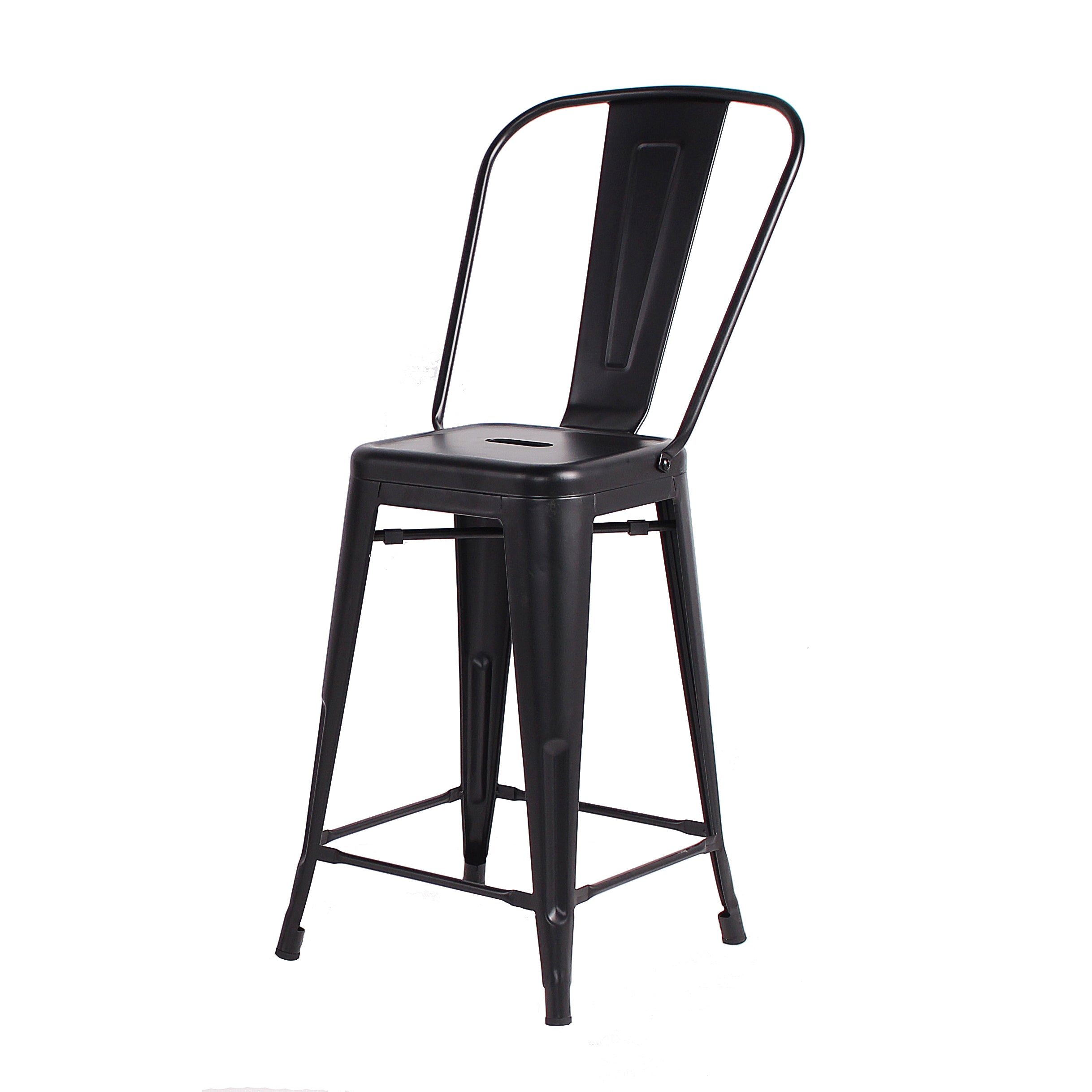 Buschman Set of 4 Matte Black 24 Inch Counter Height Metal Bar Stools with High Back, Indoor/Outdoor