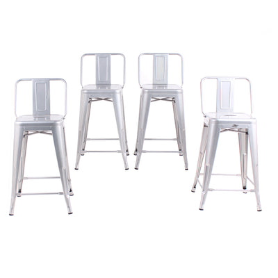 Buschman Set of 4 Grey 24 Inch Counter Height Metal Bar Stools with Medium Back, Indoor/Outdoor