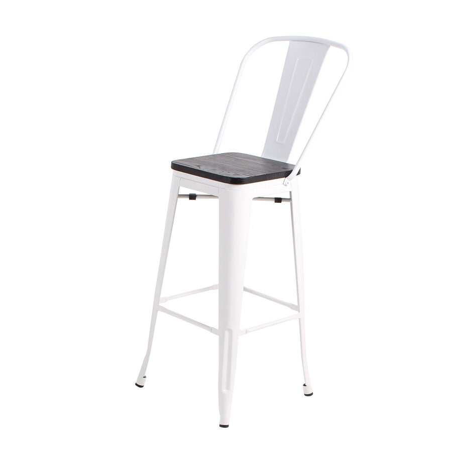 Buschman Set of 4 White Wooden Seat 24 Inch Counter Height Metal Bar Stools with High Back, Indoor/Outdoor