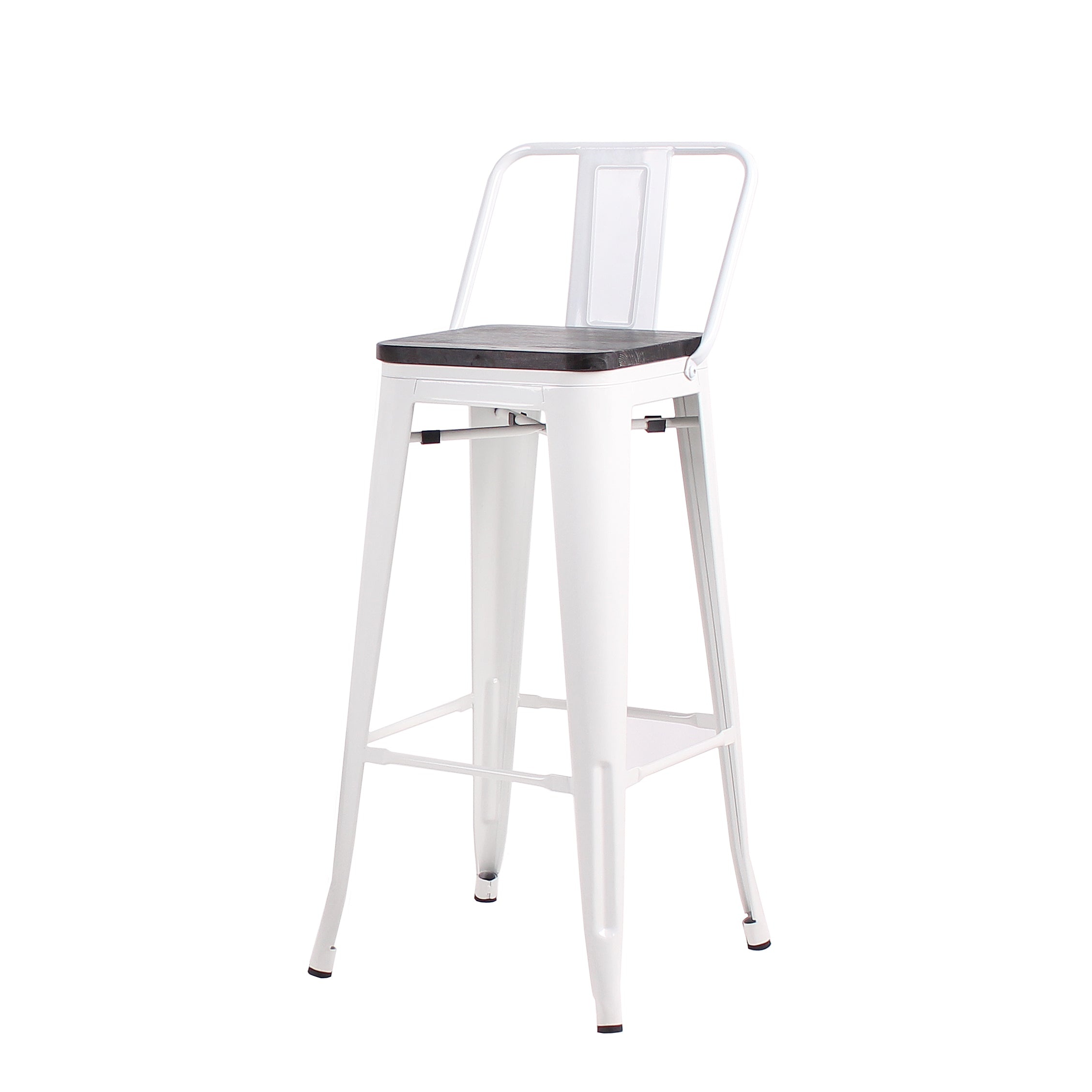 Buschman Set of 4 White Wooden Seat 24 Inch Counter Height Metal Bar Stools with Medium Back, Indoor/Outdoor