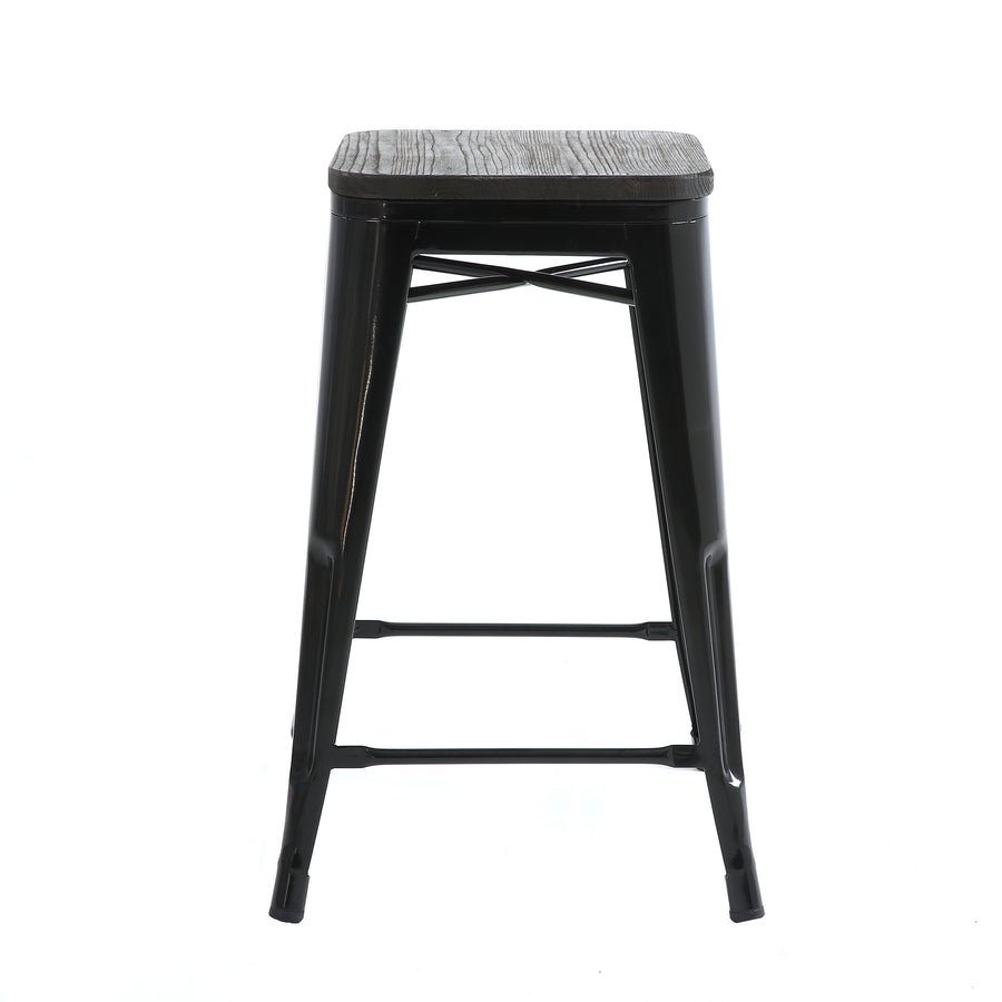 Buschman Set of 4 Black Wooden Seat 24 Inch Counter Height Metal Bar Stools, Indoor/Outdoor Stackable