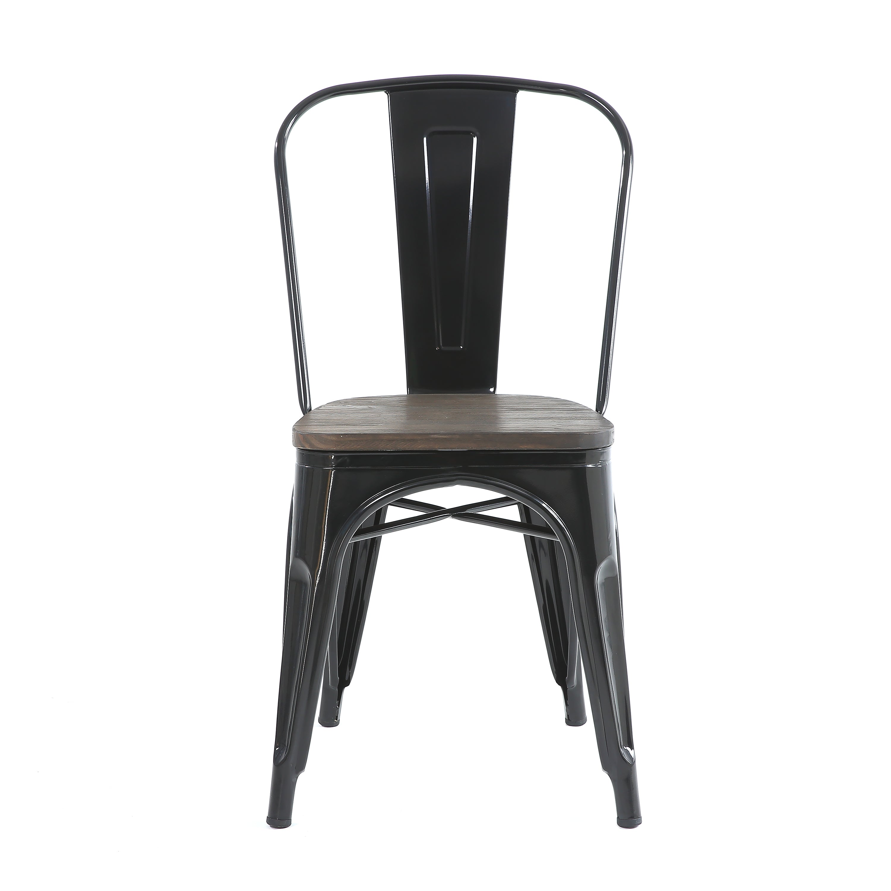 Buschman Set of 4 Black Wooden Seat Metal Dining Chairs, Indoor/Outdoor and Stackable