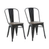 Buschman Set of Two Black Dining Room Industrial Metal Stackable Chairs With Back and Wooden Seat