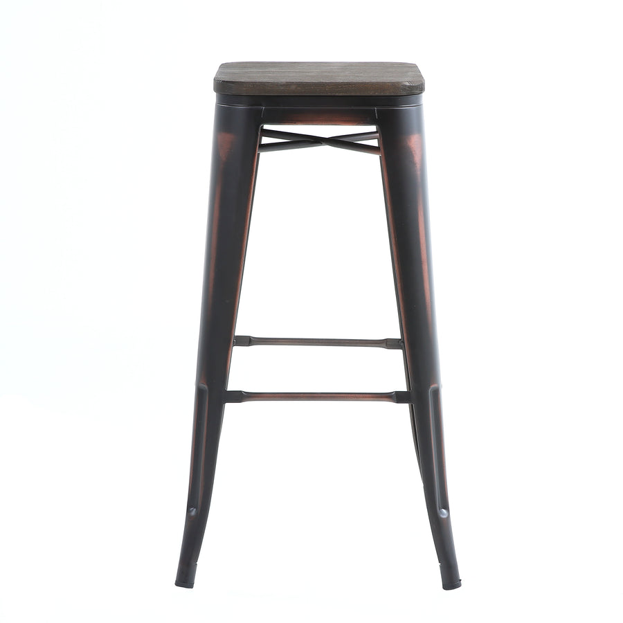 Buschman Set of 2 Distressed Black Wooden Seat 30 Inch Bar Height Metal Bar Stools, Indoor/Outdoor, Stackable