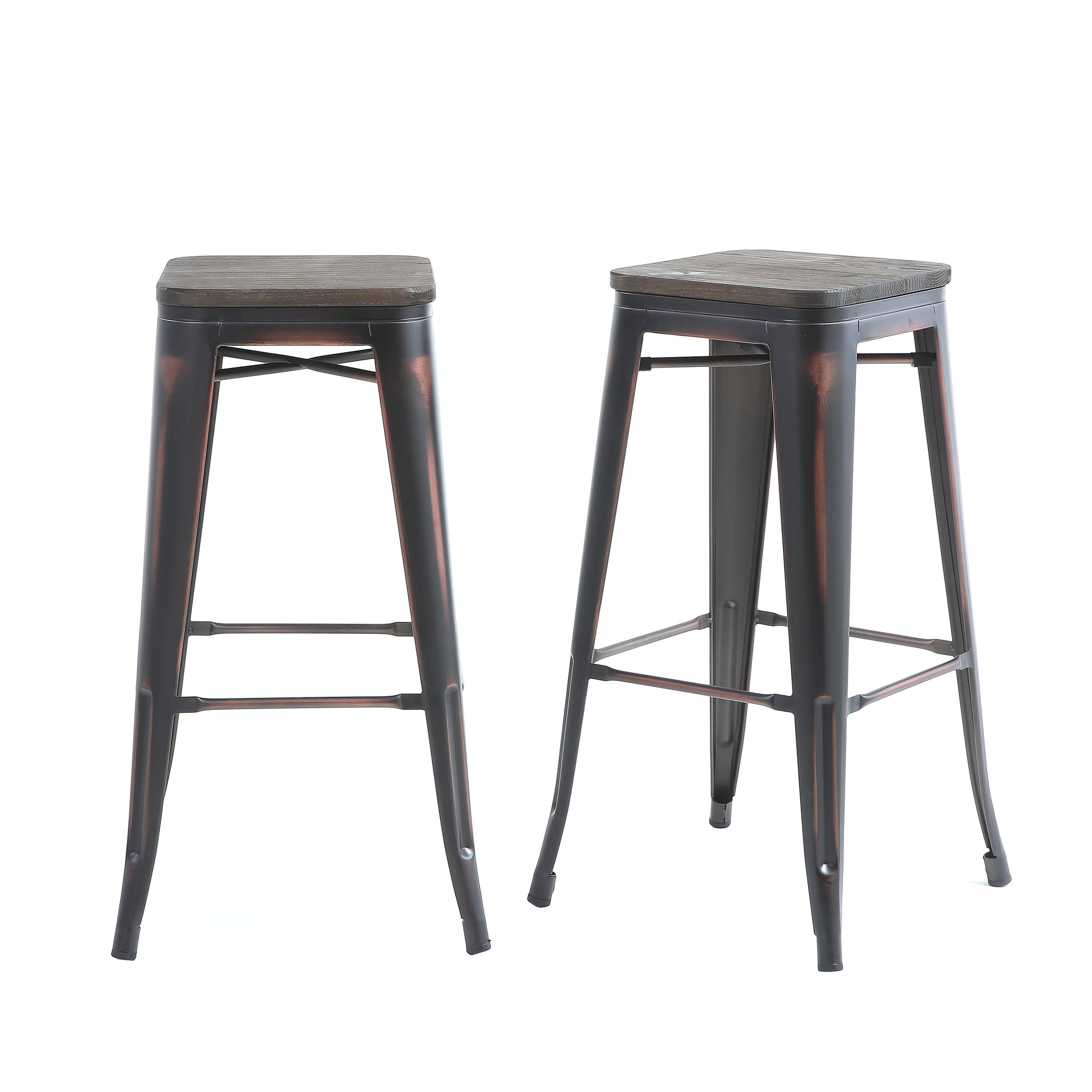 Buschman Set Of 2 Distressed Black Wooden Seat 30 Inch Bar Height