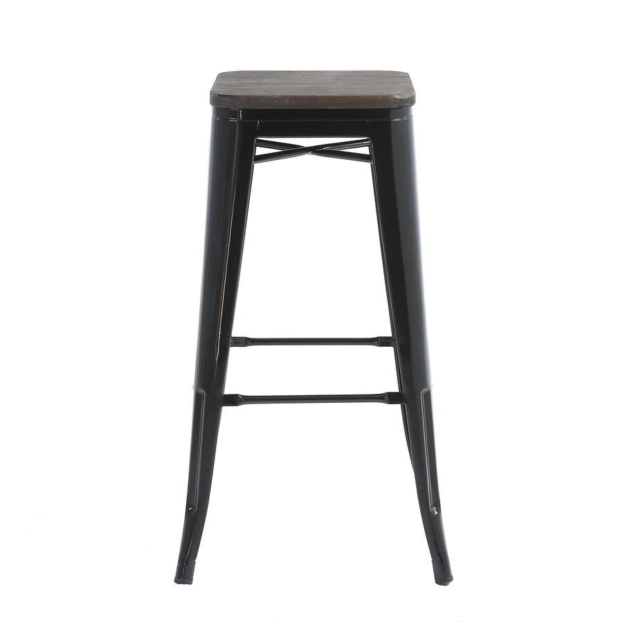 "Buschman Set of Four Black 30"" Industrial Metal Stackable Backless Barstools with Wooden Seat"