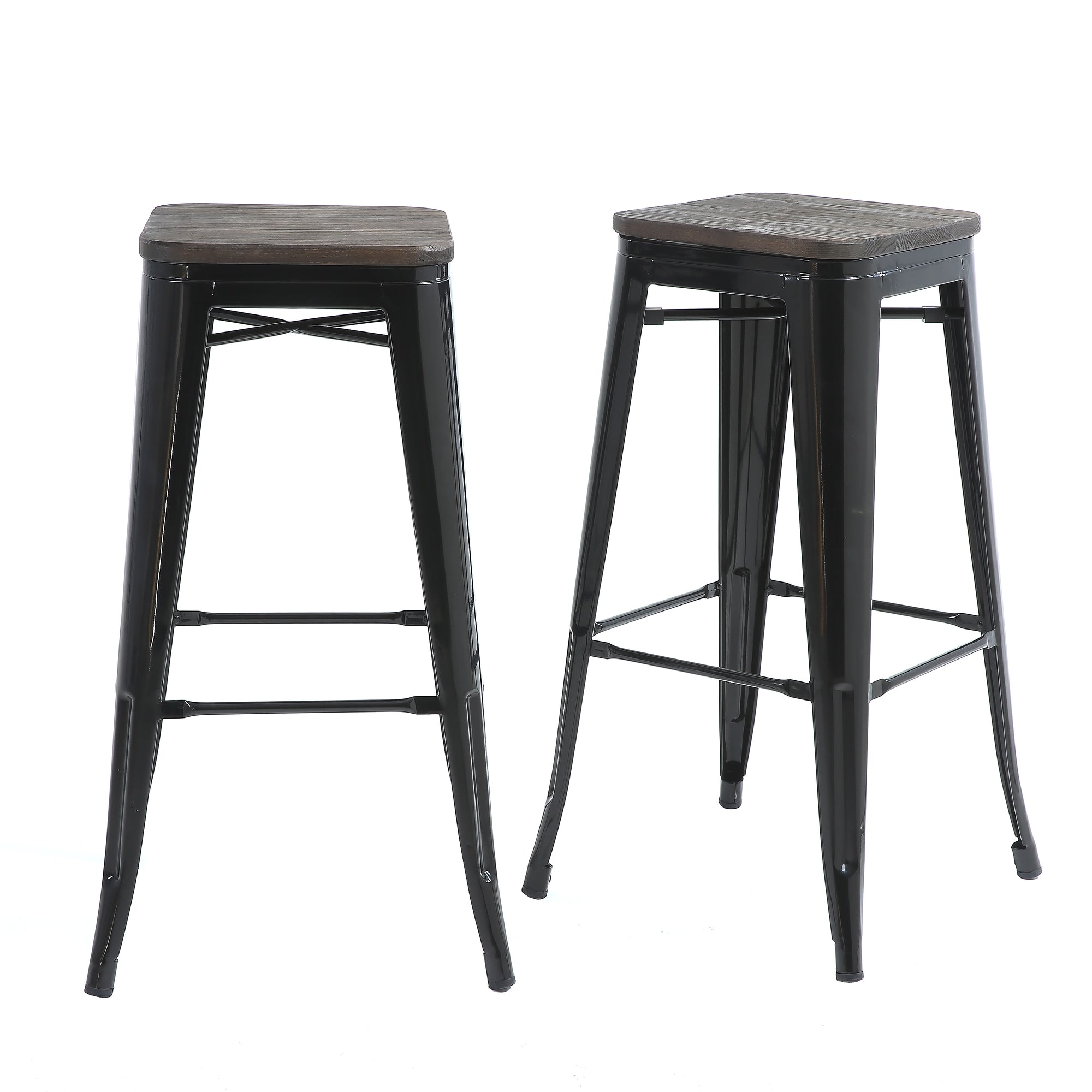 Peachy Buschman Set Of 2 Black Wooden Seat 30 Inch Bar Height Metal Bar Stools Indoor Outdoor Stackable Pabps2019 Chair Design Images Pabps2019Com